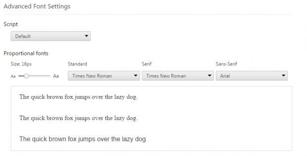 advanced font settings Chrome