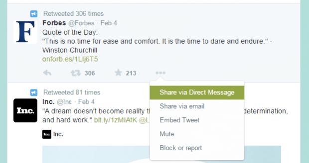 share a tweet via DM Twitter b