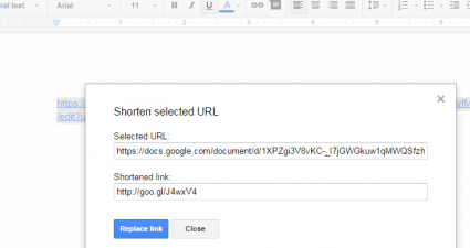 shorten URL links in Google Docs c