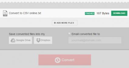Convert TXT to CSV online c
