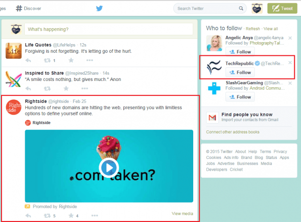 Sponsored Tweets Profiles