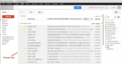 adjust left label column Gmail