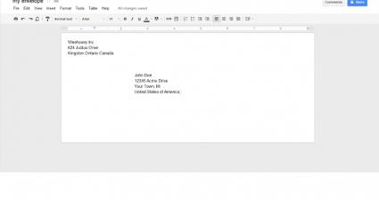 create envelope in Google Docs b