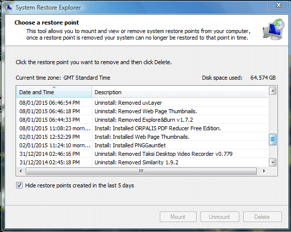 system restore explorer4