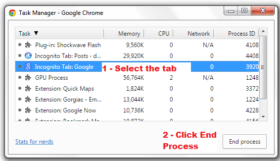 close unresponsive tab in Chrome b