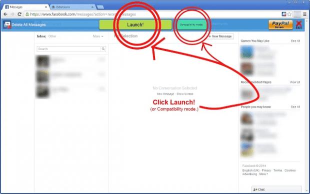 delete all facebook messages c