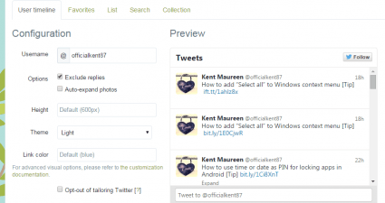 embed Twitter widget in Blogger