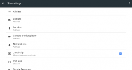 enable disable JavaScript Chrome Android