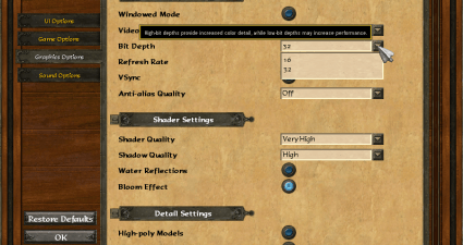 game graphic settings