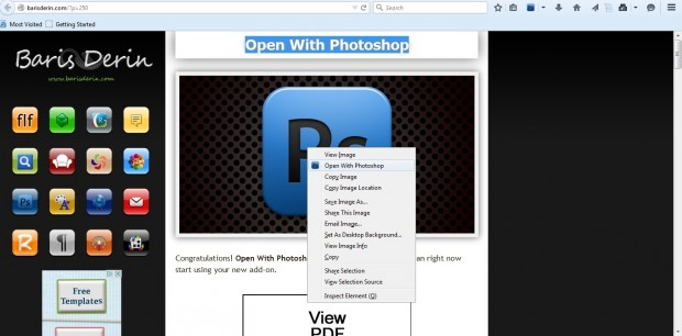 open with photoshop