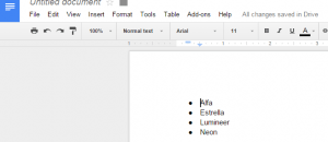sort lists in Google Docs d