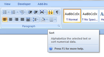 Alphabetically in word