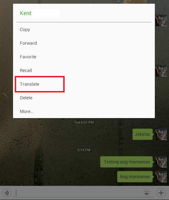 translate option in WeChat