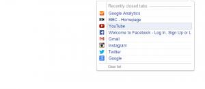 Closed Tabs Chrome