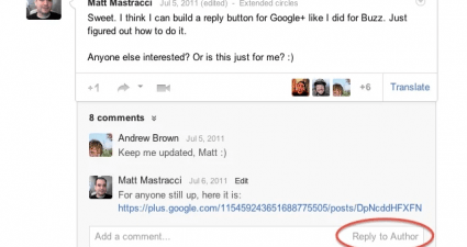 add extra functionality to Google Plus comments b