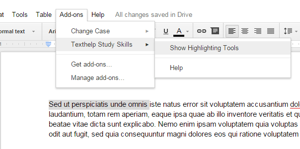 highlighting tool for Google Docs b