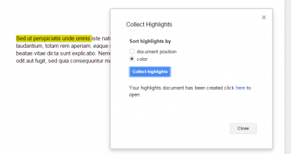 highlighting tool for Google Docs d