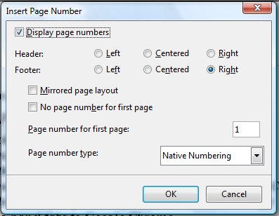 how to add page numbers in pages in footer