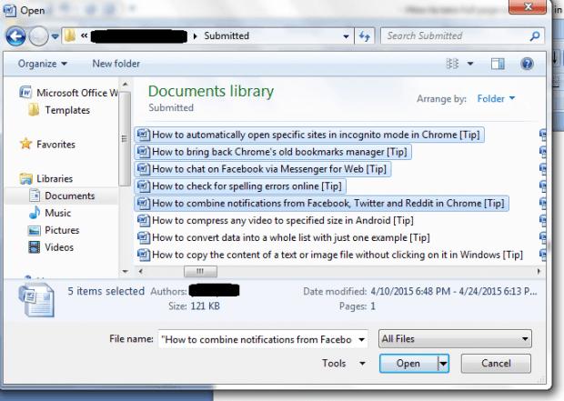 open multiple documents in Word b