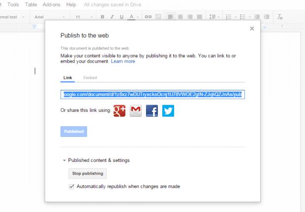publish unpublish Google Docs document c