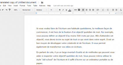translate document in Google Docs c