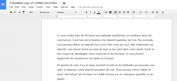 translate document in Google Docs c