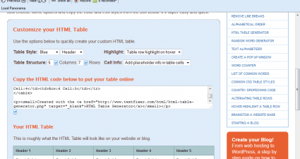 website table3