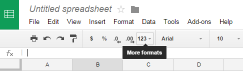 More formats icon Google Sheets