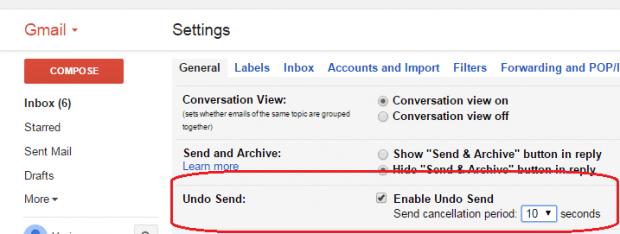 enable undo send option Gmail b
