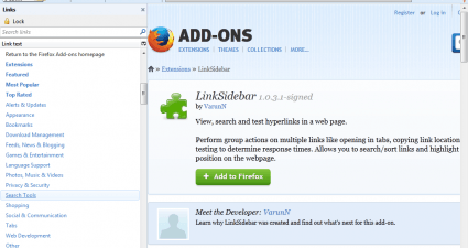 hyperlink sidebar