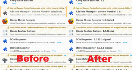 restore versions in Firefox Add-ons Manager