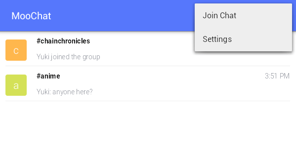 chat in Android using MooChat b
