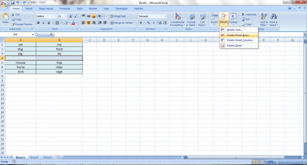 delete all blank rows Excel at once b
