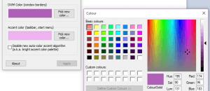 set custom window border color Windows 10 b