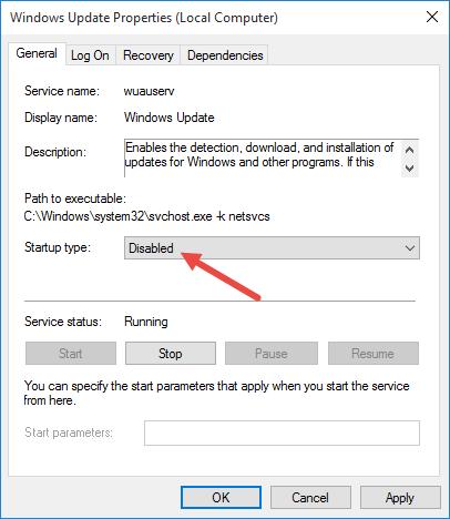 Disable Windows updates