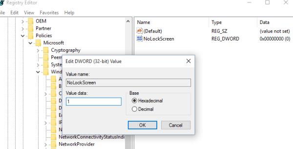 Windows 10 no lock screen